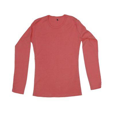 חולצה ריב ארוכה ילדות בצבע כתום אפרסק